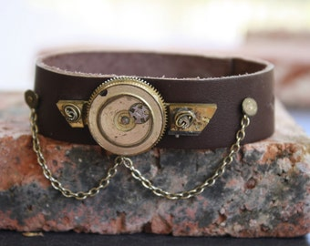 Steampunk Leather cuff bracelet