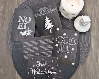 Christmas /5 Postcards -Digital  Print