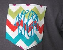 Monogram Shirt Pocket Tee Shirt Chevron Monogrammed Gifts Monogram Chevron Pocket tshirt Personalized Womens Gifts Short Sleeve -Embroidered