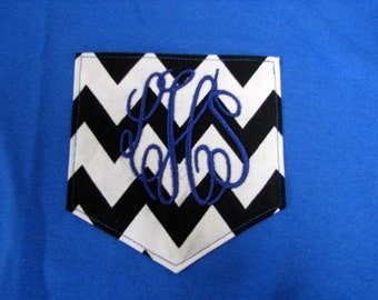 Monogrammed Gifts Monogram Pocket Tee Shirt Chevron Pocket tshirt  - Short Sleeve Many Colors - Adult Sizes - EMBROIDERED