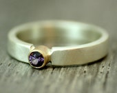 Spinel Engagement Ring, Violet Spinel, Recycled Silver and Gold Ring, Ethical Gemstone, OOAK, Purple, Eclectic, Ready to Ship UK Size J