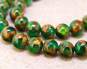 """One Full Strand -- Charm Round Zambian Gold Green Jade Stone Gemstone Beads--- 8mm ----about 46Pieces---- 15.5"""" in length"""