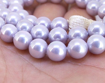 "8mm High  Luster Lavender South Seashell Pearl beads Round Shell Pearl Full One Strand 16"" in length 47beads Per Strand Jewlelry Supplies"