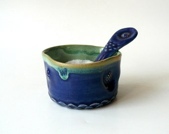 Ceramic Salt Cellar with Ceramic Teaspoon, Sugar Bowl , Candy Bowl with Fish Scales and Gold Sparks in Blue and Green