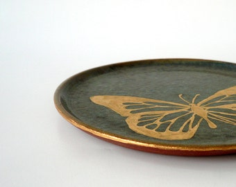Butterfly Lunch Plate, Decorative Plate, Hand Painted in Gold on Variegated Dark Turquoise by Cecilia Lind, StudioLind