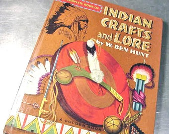 Vintage Rare Book INDIAN CRAFTS and LORE How To Golden 1954