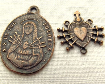 Bronze Our Lady of Sorrows w Crucifix Medal & Seven Sorrows Centerpiece, 7 Sorrows, Mater Dolorosa