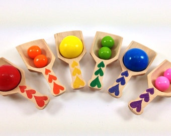 6 Mini Heart  Wooden Scoops,Pick the Colors, Candy Buffet, Wedding,  Kid's Birthday
