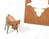 postcard wood - 3 pig cards