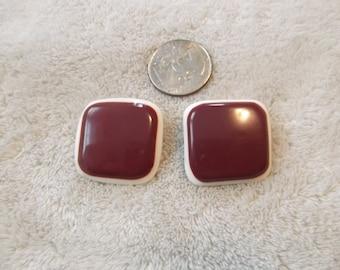 Vtg Clip On Earrings- Burgundy Plum Squares-C2386