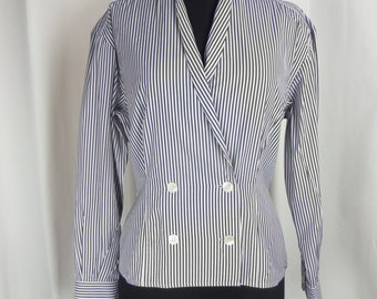 80s MaxMara blue white striped cotton blouse/ double breasted /preppy: US size 8-10