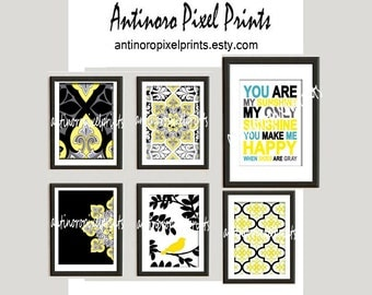 Personal Listing Yellow Black Grey Ikat Collage Art Wall Gallery Digital Print  -Set of (6) Prints - (5) 5x7 (1) 8x10 (UNFRAMED)