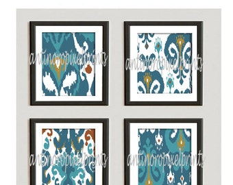Teals, Turquoise, Khaki Damask Ikat Art Prints Collection - Set of (4) - 10 x 10 Prints - (UNFRAMED) Custom Colors Available