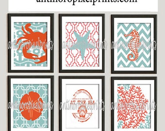 Beach House Digital Prints Coral/Orange Turquoise White Wall Art Vintage / Modern Inspired -Set of 6 - 8x10 Prints -  (UNFRAMED)