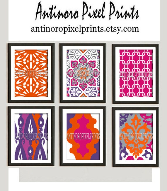 Wall art prints orange pink purple vintage modern inspired for Orange and purple walls
