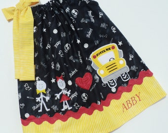 Custom Boutique Back To School Stick Kids and School Bus Pillowcase Dress