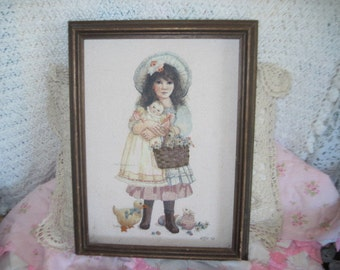 Sweet Little Girl Picture with Basket and baby doll in Arms Embroidered /SALE CLEARINGOUT25 must use at check out