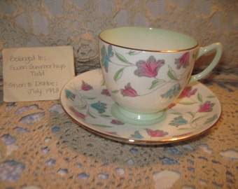 Adderley Bone China Teacup and Saucer with some History with It Numbered on Bottom/ New listing Not included in Coupon Sale.:)S