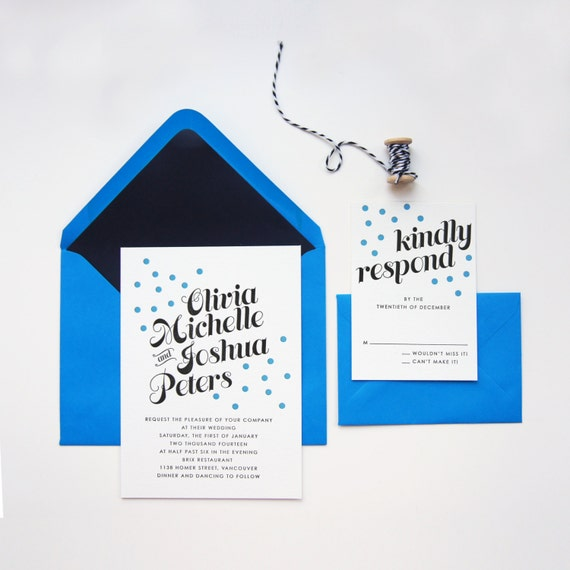 SAMPLE : Blue Confetti Letterpress Wedding Invitation (digital printing also available)