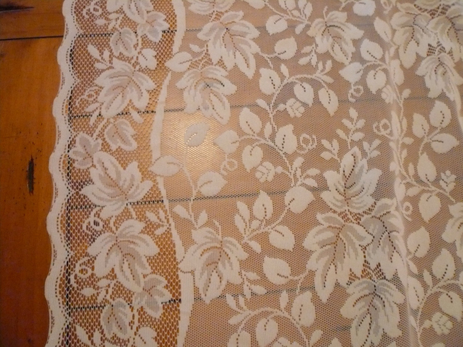 vintage ivory lace curtains two curtain panels shabby