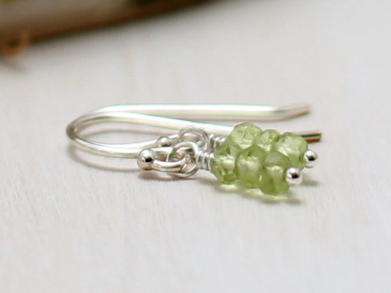 Peridot Earrings, Sterling Silver Wire Wrapped Lime Green Gemstone Jewelry August Birthstone Dainty Drop Dangle Earrings