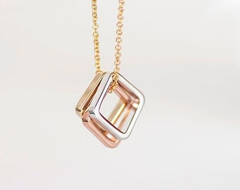 Square Charm Necklace, Triple Square Necklace, Gold / Silver / Pink Gold Chain, Bridesmaid Sister Girlfriend Gift, gj lj