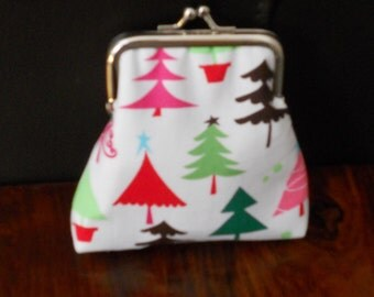 Colourful Christmas Trees Red Green Festive Design on Silver Frame Clasp Coin Purse