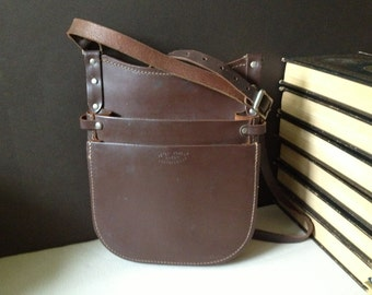 Chocolate Brown Leather Saddle Bag Crossbody Messenger Vendor Bus Conductor