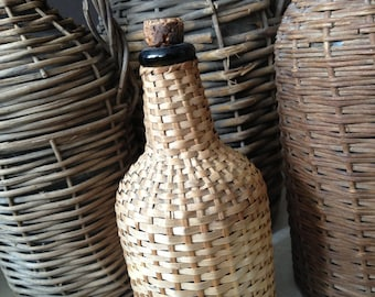 Antique French Demijohn Hand Wrapped Wicker Green Glass Wine Bottle // With Cork