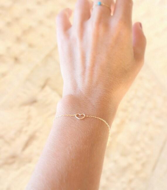 Heart Bracelet Thin Gold Bracelet Dainty By Juljewelry On Etsy