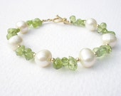 Natural Gemstone Peridot Briolettes  -Natural Fresh Water White Pearl - 14k Yellow Gold Filled Bracelet