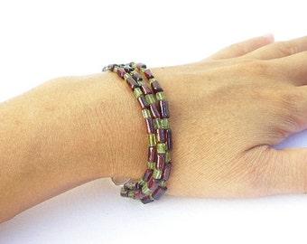 Natural Gemstone Peridot and Natural Gemstone Garnet Rectangular Three Strand 925 Sterling Silver Bracelet
