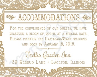 Vintage Lace - 3.5x5 Printable Wedding Accommodations Enclosure Card - Cottage Victorian Rustic Elegant - Gold White Pink Blush Gray Grey