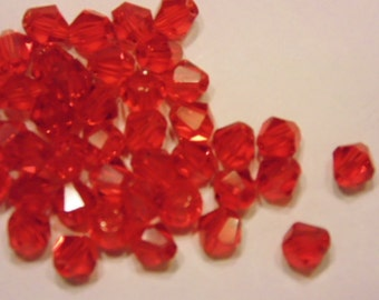 50 red bicone crystal spacer beads, 4 mm
