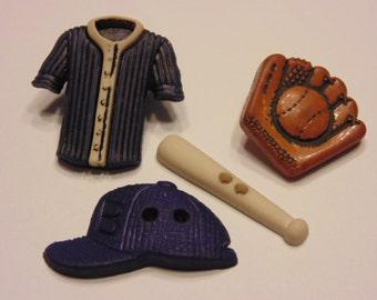 4 piece baseball button set, 24-30 mm (B1)