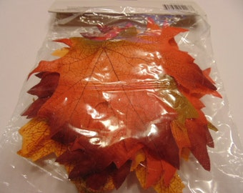 30 piece brown / orange tones fabric leaf mix, 80 mm (A12) 6797