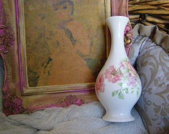 French Bud Vase, Bernardaud Limoges Vase,  Vintage Limoges, White Porcelain Vase, Pastel Roses