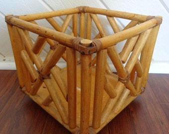 Vintage 1970s Bamboo Basket Planter/Plant Stand