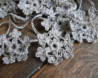 Crochet Garland, Wall Handing,crochet ornaments, embellishments, winter decor, linen applique, Shabby chic, linen Garland, window garland