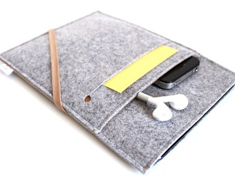 iPad Pro Sleeve, iPad Pro 12.9, iPad Pro 9.7, iPad Cover, iPad Case, iPad Mini 4, iPad Air 2 Case- Elastic Collection- Light Grey & Caramel