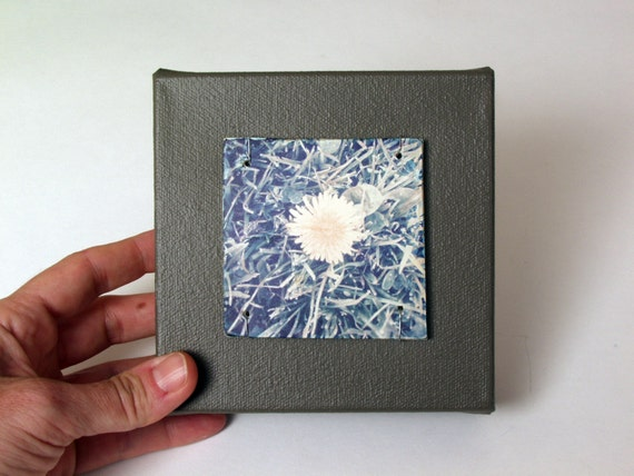 Dandelion.  Mixed Media Polaroid Transfer Printed on Fired Ceramic Slab, Sewn to 5 X 5 Canvas.  Weed Abstract Still Life.