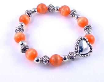 Orange Cats Eye Heart Stretch Bracelet
