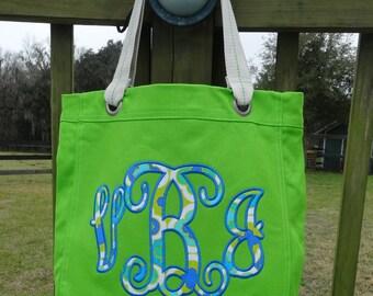 Custom Large Applique Monogram Canvas Bag - Your choice colors