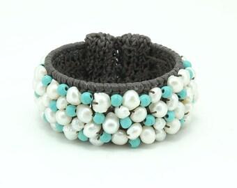 White freshwater pearl,turquoise knitting crochet bangle.