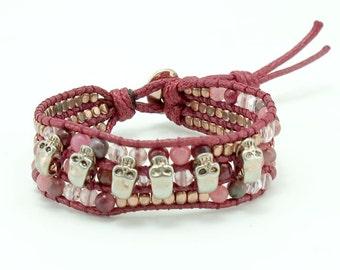 Pink cotton cord,rose quartz,cherry quartz,crystal skull charm wrap bracelet