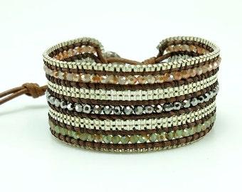 Silver plated box chain,coin closure wrap bracelet.