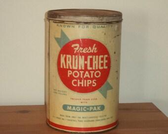 Vintage Krun-Chee Potato Chip Can