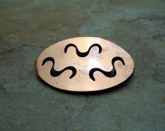 Mid Century Copper Brooch Pin