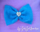 Blue Heart Hair Bow
