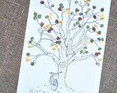 Thumbprint Tree Guest Book wih Bike Detail- Large Size- Fits 160-220 Prints